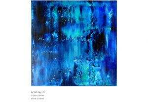 Abstract Painting by Nicola Beattie - Blue Falls